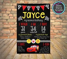 Cars Birthday Chalkboard Poster // First Birthday by MsThirdGrade