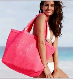 NWT! Victorias Secret TERRY Tote Beach Bag HUGE Coral Pink 2016 LIMITED EDITION #VictoriasSecret #TotesShoppers