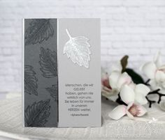 Basteln Mourning card-Stampin up-Vintage Leaves-Stamp room Wedding Bouquet: It's Importance To Your Stampin Up Cards, Men's Cards, Paper Lace, Embossed Cards, Bunch Of Flowers, Vintage Wedding Invitations, Thanksgiving Cards, Sympathy Cards, Greeting Cards Handmade