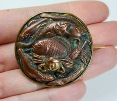 Antique Chased COPPER Very Ornate SEA CREATURES Brooch  by Foxing, £162.00