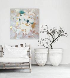 "Ähnliche Artikel wie 48""x48"" Canvas Art, Amanda Faubus Gold Leaf Original Painting, Abstract, teal, creme, white, grey, Canvas, Urban, Loft, Boho Art auf Etsy"