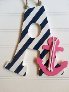 Anchor Decor Wooden Letter Decor Anchor Nursery by LaurenAnnaLei Anchor Nursery, Nautical Nursery Decor, Nautical Baby, Girl Nursery, Girl Room, Nursery Ideas, Wooden Letters, Large Letters, New Baby Products