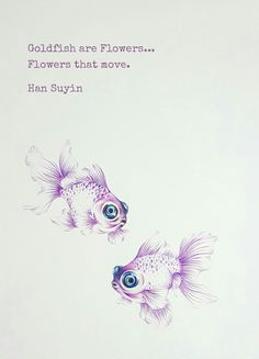 Goldfish rendered in colour-pencils with digital quote from Han Suyin (Illustration by Lau Sheow Tong 劉绍忠)