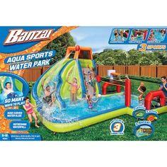 Make a splash with this Banzai Aqua Sports Water Park. Beach Day, Beach Trip, Banzai Water Slide, Lego City Cargo Train, Inflatable Water Park, Splash Park, Sport Park, Cool Tree Houses, Different Sports