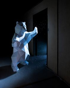 Faceted folded bear via Upon a Fold