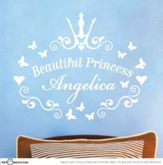 """Beautiful Princess Nursery Vinyl Rhyme Wall Art Sticker Decal Children Kids by StickTak Stickers. $26.95. !!! IMPORTANT: PLEASE EMAIL US NAME & COLOUR FOR YOUR STICKER after you make purchase !!!. Please refer to our image gallery for exact measurements - when laid out on the wall is approx. W20"""" x H17""""  (50cmx45cm). Great for Nurseries, Dorms, Kids Rooms, Windows. Easy to apply to smooth surfaces like walls, glass, tiles. Made from high quality AVERY brand removable viny..."""