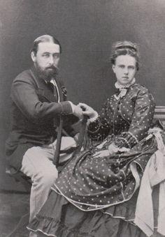 Prince Alfred of Great Britain, Duke of Edinburgh and fianceè, Grand Duchess Maria Alexandrovna of Russia. 1874