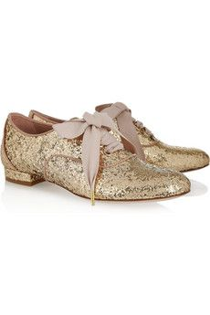 RED ValentinoGlitter-finished lace-ups. I love how these shoes add girly twists to a classic menswear-style silhouette-the oxford. The glitter will shimmer with every step that you take, and those ribbon laces are so beautiful.