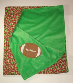 Large Baby Blanket Football Minky Blanket Ships by MoMaCreates