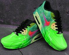 Custom Airbrush Painted Nike Air Max 90 Poison Green Style *UNIKAT* handpainted Sneaker