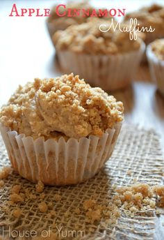 Apple cinnamon muffins with a streusel topping.