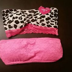 Bandeau Pink lace. And leopard. Intimates & Sleepwear Bandeaus
