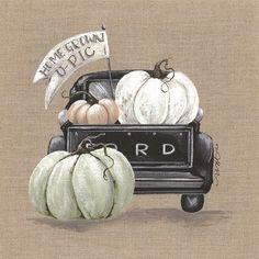 Framed Pumpkin Truck Print