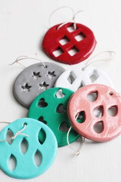 These clay Christmas ornaments are kid friendly but still look great on your tree! They are so easy to make; use your favorite paint colors. Christmas Crafts For Gifts, Christmas Ornaments To Make, Handmade Christmas, Christmas Fun, Christmas Decorations, Xmas, Modern Christmas, Country Christmas, Halloween Crafts