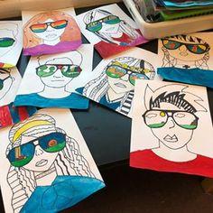5th Grade Sunglass Portraits. Almost finished. #art #artclass #artlesson #artwork #kidsart #artteacher #artteachersofinstagram #elementaryart #elementaryartteacher #portraits