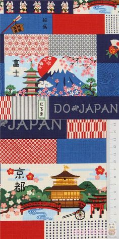 blue, grey etc. cotton dobby fabric with rectangles with Mt Fuji, fish, dots, lucky cats etc., Material: 100% cotton, Fabric Type: strong dobby fabric, Collection: Odeo Mix #Dobby #FamousPlaces #Landmarks #JapaneseFabrics Japanese Patchwork, Japanese Fabric, Dobby Fabric, Echino, Kawaii, Modes4u, Patchwork Designs, Fuji, Cotton Fabric