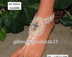 Crochet sandalias pies descalzos zapatos Nude por LadyAlinaShop