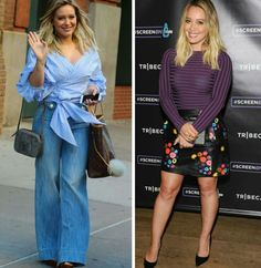 Alguns looks lindos e inspiradores da Hilary Duff!✨ Uma combinação blue de blusa listrada e pantalona + duas bolsas, cinza e marrom. E outra de blusa roxa e saia preta, floral de couro + clutch e scarpin preto. #creative #fashion #style #hilaryduff