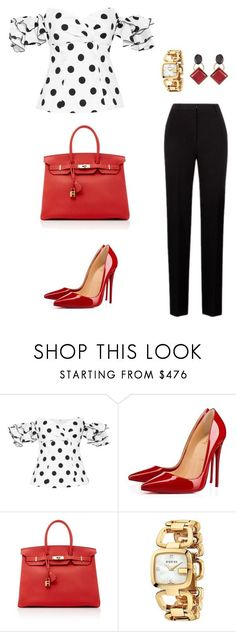 """""""Untitled #480"""" by nadiralorencia on Polyvore featuring Caroline Constas, Christian Louboutin, Hermès, Gucci and Marni"""