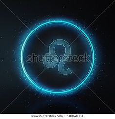 Astrology Zodiac Signs or symbol. Call Leo. Metallic silver and light on black background. Glowing and shining blue neon style. 3D Rendering.