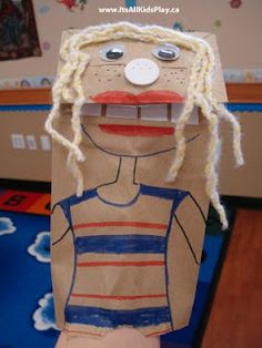 A silly paperbag puppet. Easy for kids to make with scraps and bits from around the house.