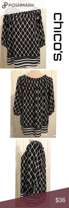 """Chico's, Elastic Neckline Patterned Blouse Chico's, Black & white patterned 3/4"""" sleeve blouse. Elastic band neckline contours to body with matching elastic band cuffs (4th pic). 100% polyester fabric with an adorable abstract striped bottom hem border. Loose comfortable fit, flattering on. Chico's size 3 converts to size XL 14-16 ✅See last pic for measurements, it's 26"""" Long. In immaculate, like new condition! Chico's Tops Blouses"""
