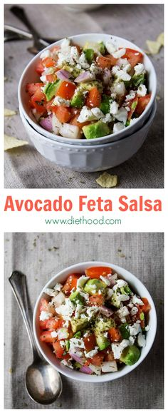 Avocado Feta Salsa | www.diethood.com | Avocados, tomatoes, and feta cheese combined to make a chunky, savory, delicious summer salsa | #recipe #avocado