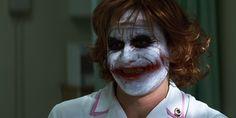 Nurse Joker (Heath Ledger) from The Dark Knight. Joker Dark Knight, The Dark Knight Trilogy, Joker Heath, Heath Legder, Joker Nurse Costume, Film Facts, Joker Dc Comics, Joker Makeup, Clown Makeup