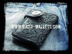 """""""Crypt"""" 6"""" Custom Handmade Leather Men's Biker Wallet"""