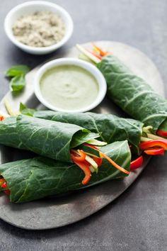 Collard Vegetable Wraps with Creamy Basil Hemp Seed Sauce on gourmandeinthekitchen.com #raw #vegan #paleo