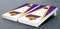 Our Northern Iowa Uni Panthers Cornhole Bag Toss Game Set Triangle Version. Get your custom set at victorytailgate.com