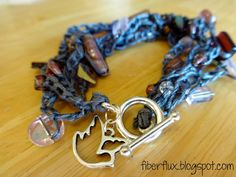 Pewter Statement Crochet Bracelet (Fiber Flux...Adventures in Stitching)