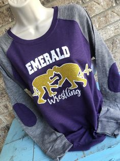 Wrestling Shirt - Customize with Team Name and colors Wrestling Mom, Wrestling Shirts, Raglan Shirts, Mom Shirts, Sports Mom, Elbow Patches, Team Names, Running Women, Long Sleeve Shirts