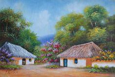 cuadros-artesanales-paisajes-colombianos Landscape Art, Landscape Paintings, Village Drawing, John William Waterhouse, Nature Drawing, City Art, Beautiful Paintings, Cartoon Art, Watercolor Art