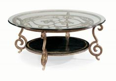 Round Cocktail Table Base and Glass Top | Bernhardt