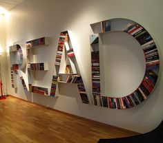 Book Storage with a message. This 'Read' book storage system is certainly an interesting design. Creative Bookshelves, Bookshelf Design, Bookshelf Ideas, Simple Bookshelf, Modern Bookshelf, Shelving Ideas, Bookshelf Decorating, Bookshelf Inspiration, Tree Bookshelf