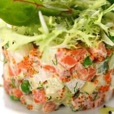 Salad with salmon and fresh cucumber