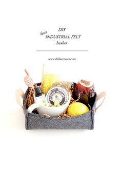 DIY Faux Industrial Felt Basket TUTORIAL // Delia Creates Felt Diy, Felt Crafts, Fabric Crafts, Diy Crafts, Diy Sewing Projects, Craft Tutorials, Felt Projects, Diy Gifts To Make, Weekend Crafts