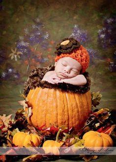 Fall newborn photo idea... Baby in a pumpkin