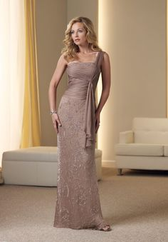 chiffon one shoulder a line long mother of the bride dress with a drape