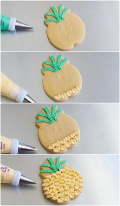 decorated pineapple cookies using a leaf tip ... plus 2 more decorating options from @bakeat350 #pineapple #decoratedcookies