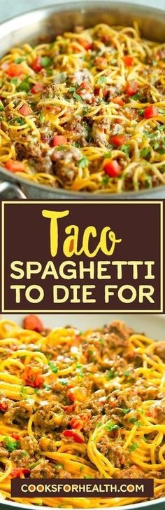 Taco Spaghetti To Die For flatas recipe; - Taco Spaghetti To Die For flatas recipe; Beef Dishes, Pasta Dishes, Food Dishes, Main Dishes, Pasta Recipes, Dinner Recipes, Cooking Recipes, Healthy Recipes, Healthy Snacks
