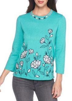 Alfred Dunner Women's Montego Bay Floral Border Sweater - Jade - L