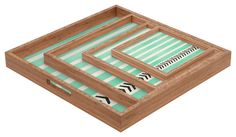 Allyson Johnson Mint Stripes And Arrows Square Tray contemporary-serving-trays