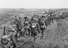 Members of the 4th Canadian Division on the march prior to the Battle of Vimy Ridge