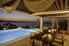 Holiday villa rental in Naxos. Luxurious private seaside villa with wonderful view in Naxos. The majesty of absolute luxury.The panorama of the. Villas, Holiday Fun, Seaside, Greece, Pergola, Outdoor Structures, Luxury, Outdoor Decor, Home Decor
