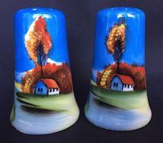 Japanese Salt And Pepper Shaker Set Made In Japan Handpainted Blue House Scene