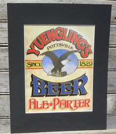 Yuengling BEER Print with MAT by ZekesAntiqueSigns on Etsy