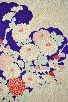 VINTAGE SILK KIMONO FABRIC:Chrysanthemum/Tsunami@Z25