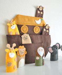 Noah's Ark Set with Animals - Catholic Saint - Finger Puppet - Felt Toy